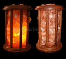 Solná lampa dřevěná klec